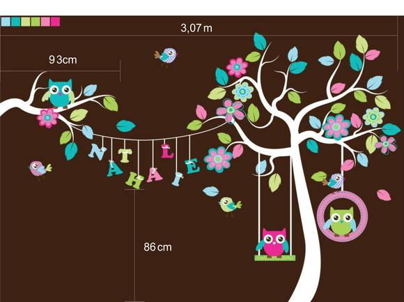 Adesivo de Parede Árvore Varal com Nome, Balanço, Corujas e Pássaros 3481B9