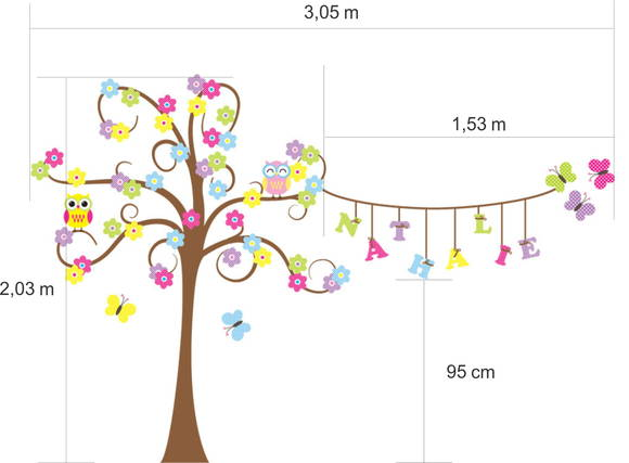Adesivo de Parede Árvore Varal com Nome, Borboletas e Corujas 347EBB