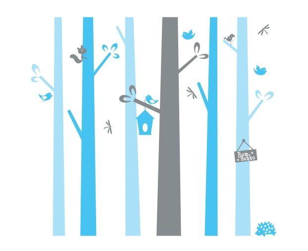 Adesivo de Parede Árvores Listras 4436BD