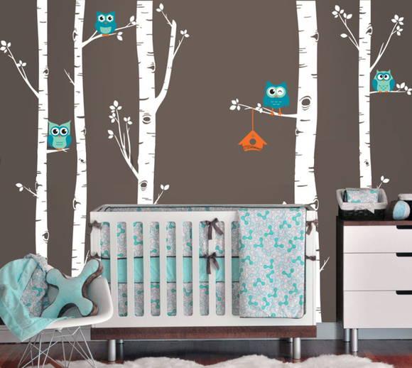 Adesivo de Parede Árvores com Corujas 34B20E
