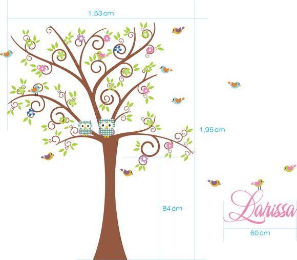 Adesivo de Parede Árvore com Corujas, Pássaros e Nome 3389CF