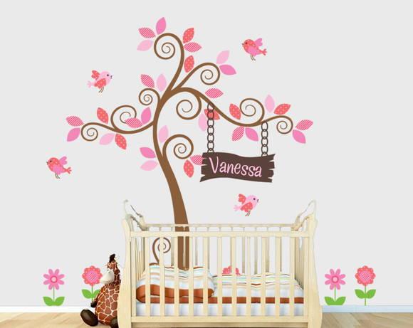 Adesivo de Parede Árvore com Pássaros e Nome 348203