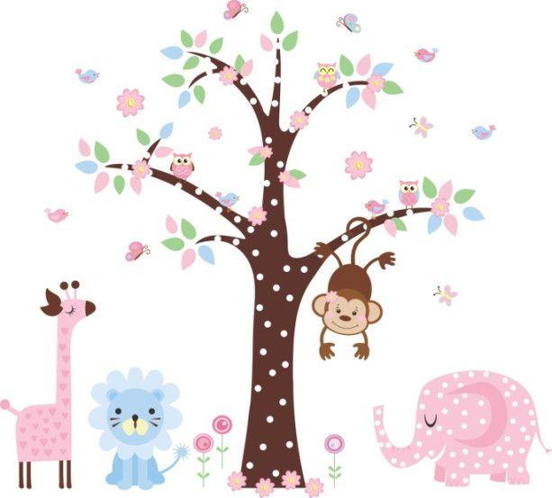 Adesivo de Parede Árvore com Animais Safari 338DE2