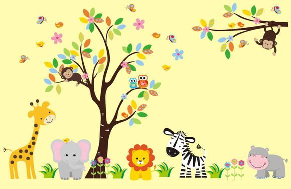 Adesivo de Parede Árvore com Animais Safari 355CF5