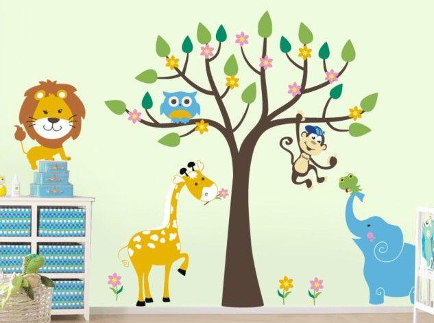 Adesivo de Parede Árvore com Animais Safari 3367E0