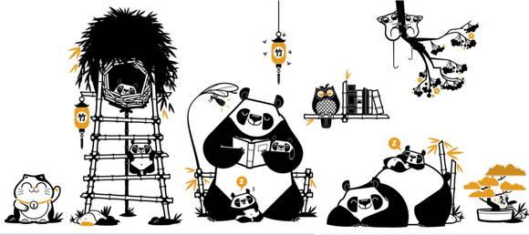 Kit Adesivos Família Panda