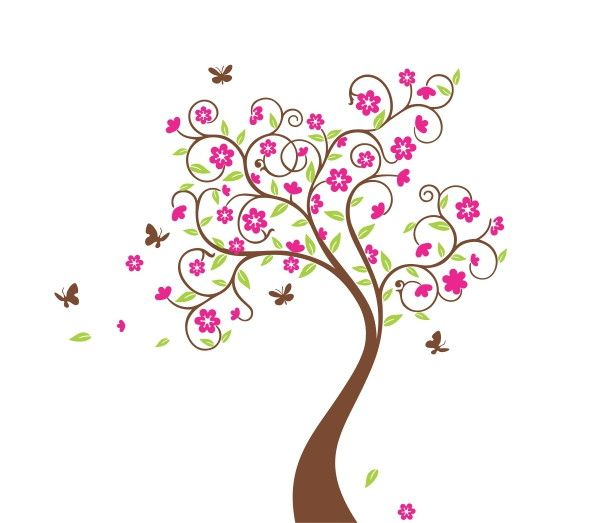 Adesivo de Parede Árvore com Borboletas 337D73
