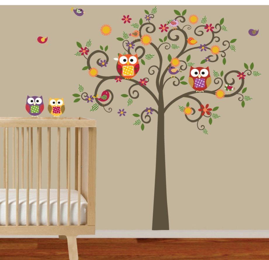 Adesivo de Parede Árvore com Corujas 347EA5