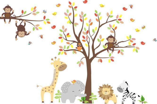 Adesivo de Parede Árvore com Animais Safari 394CFF