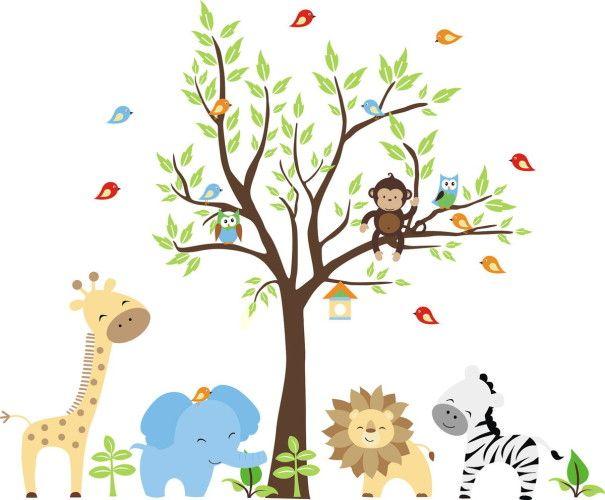 Adesivo de Parede Árvore com Animais Safari 355CCF