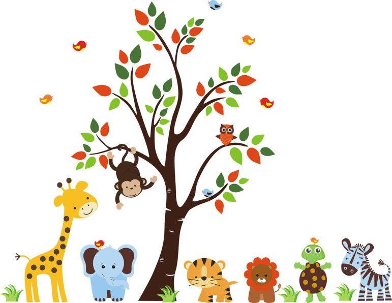 Adesivo de Parede Árvore com Animais Safari 3367B6