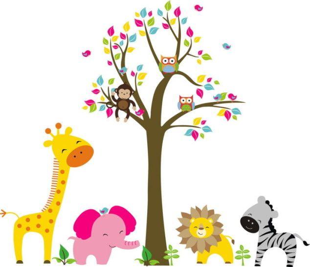 Adesivo de Parede Árvore com Animais Safari 338DBC