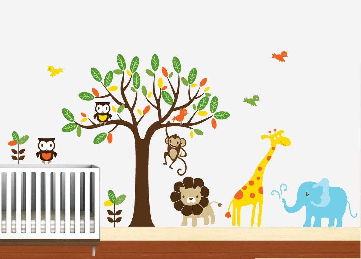 Adesivo de Parede Árvore com Animais Safari 336762