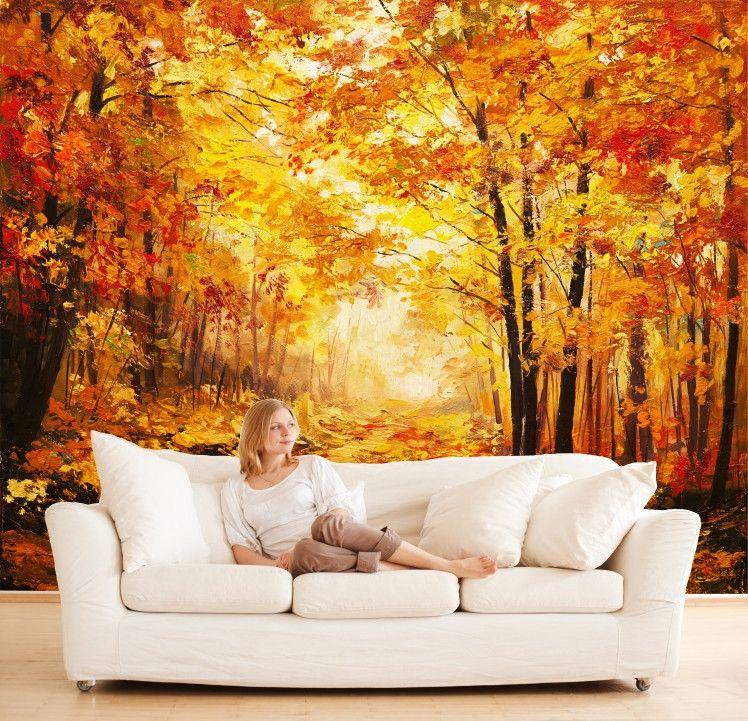 Papel de Parede Arte Árvores Floresta 411F2F