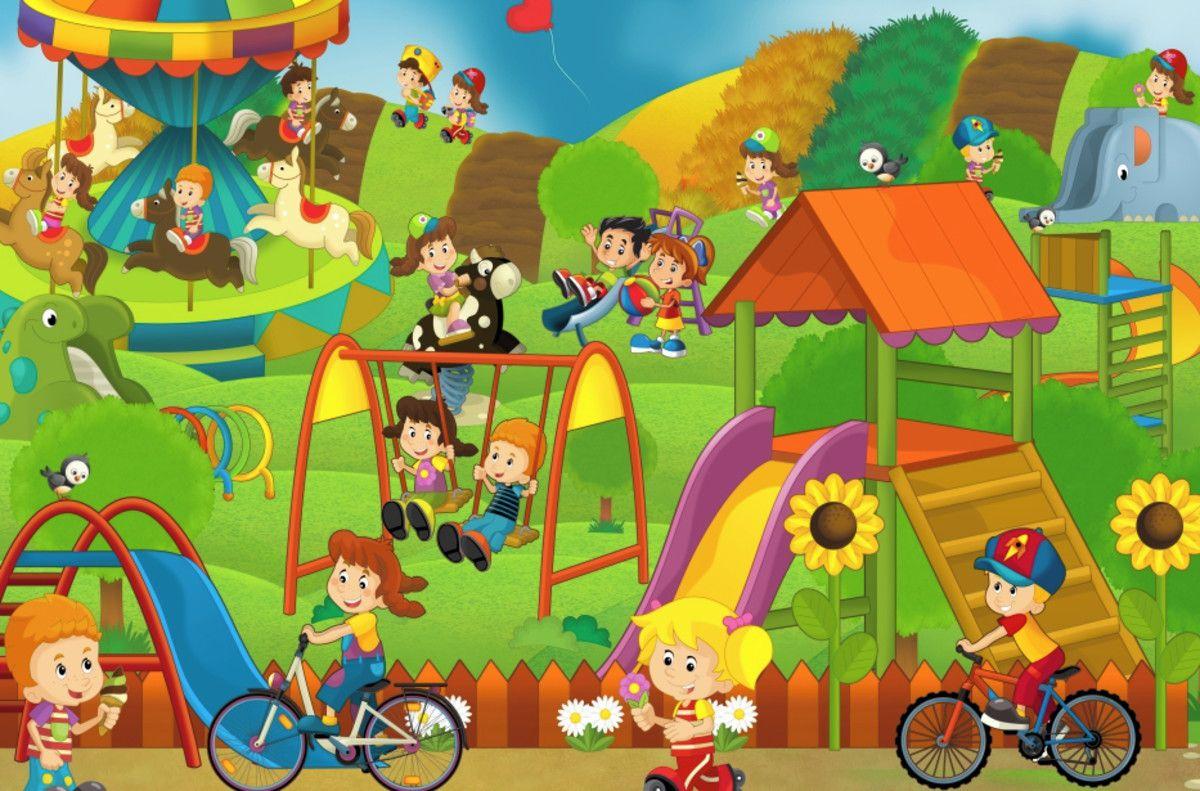 Mural de Parede Crianças Parque de Diversões 444B1E