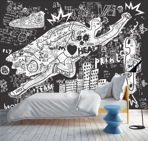 Mural de Parede Ilustração Preto e Branco 67B1B8