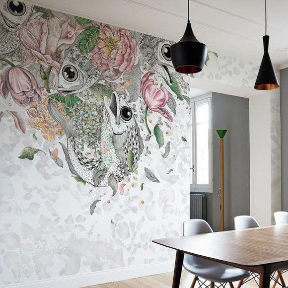 Mural de Parede Floral com Ilustração de Peixes F2E5F3