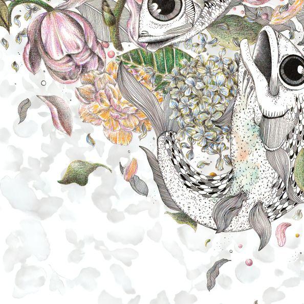 Papel de Parede Floral com Ilustração de Peixes F2E5F3