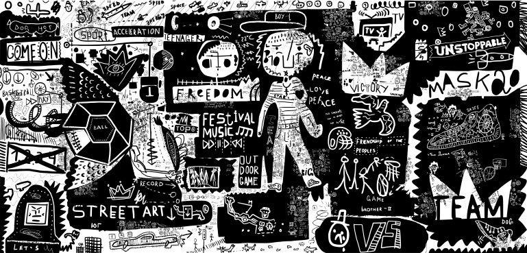 Mural de Parede Ilustração Preto e Branco 855831