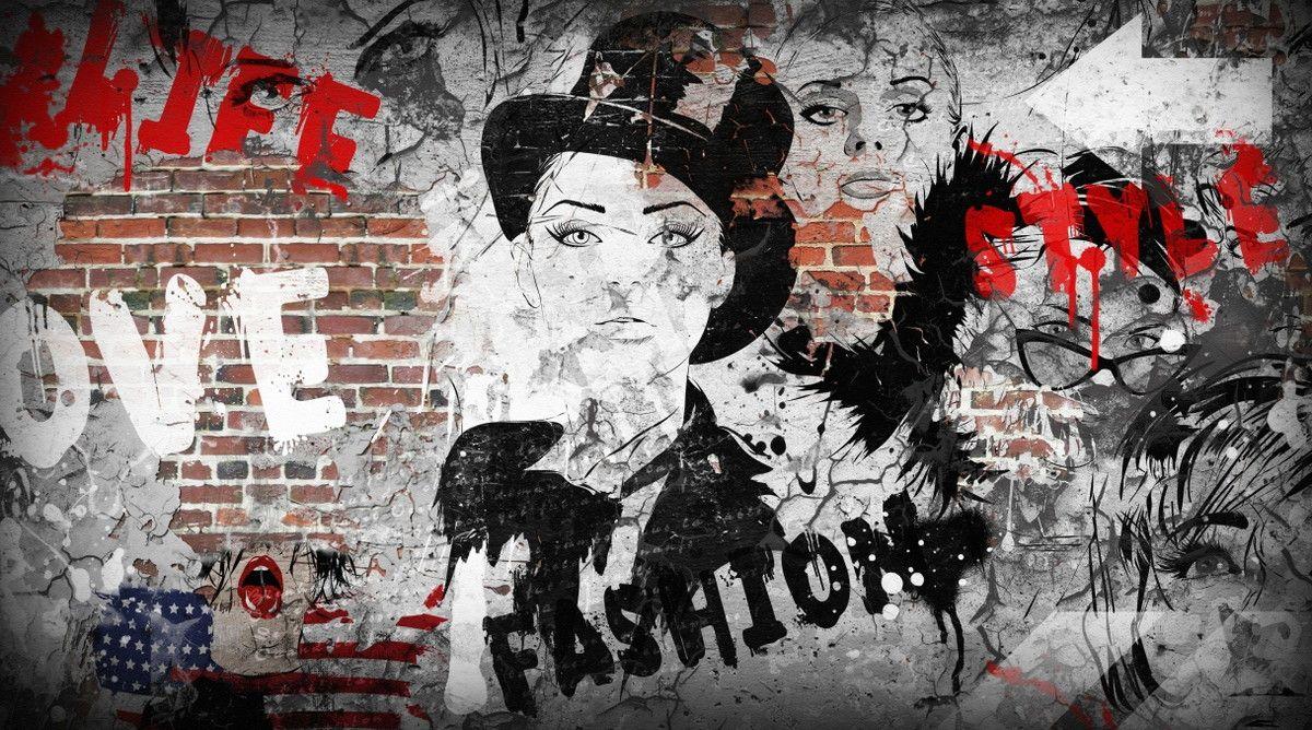 Mural de Parede Tijolinhos Arte Grafitado 67B28A