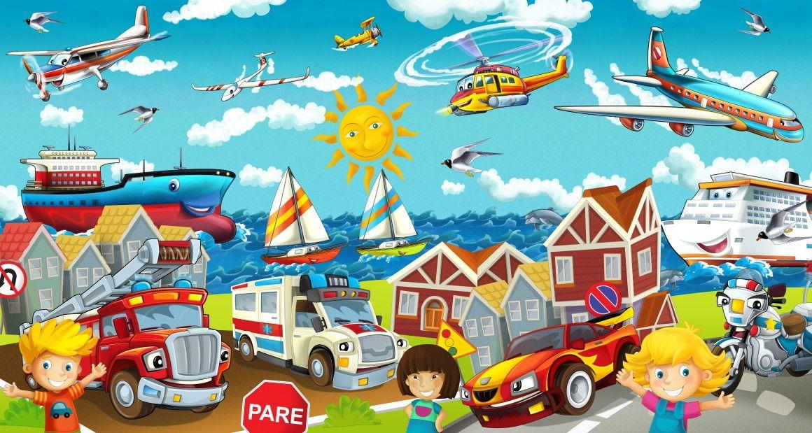 Mural de Parede Mapa Ilustração Transporte Trânsito Veículos 663EBE
