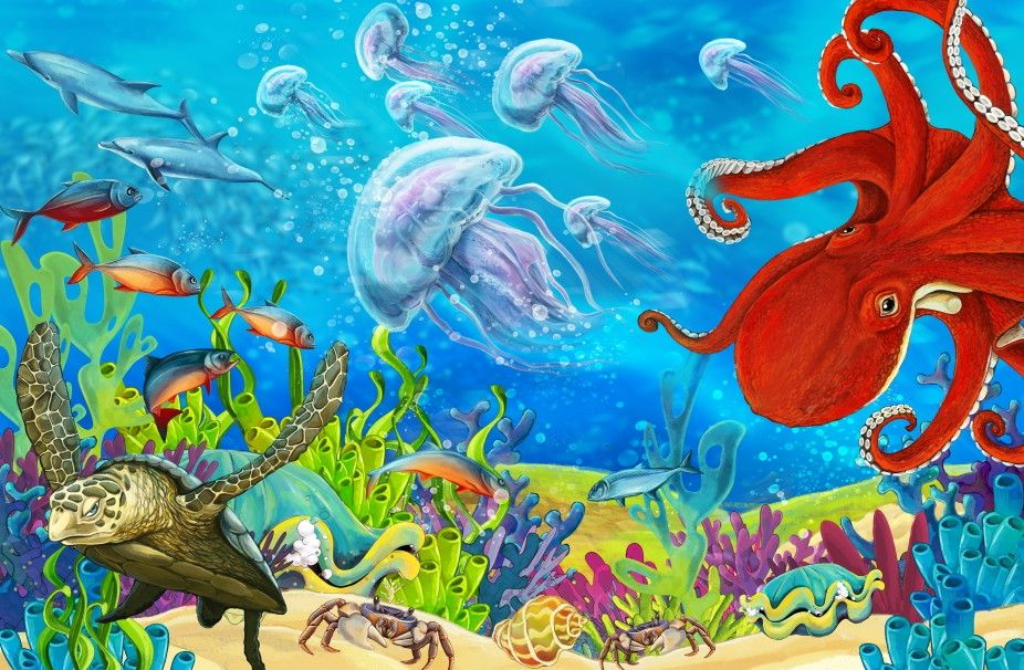 Mural de Parede Mundo Marinho Fundo do Mar Oceano Polvo 663E67