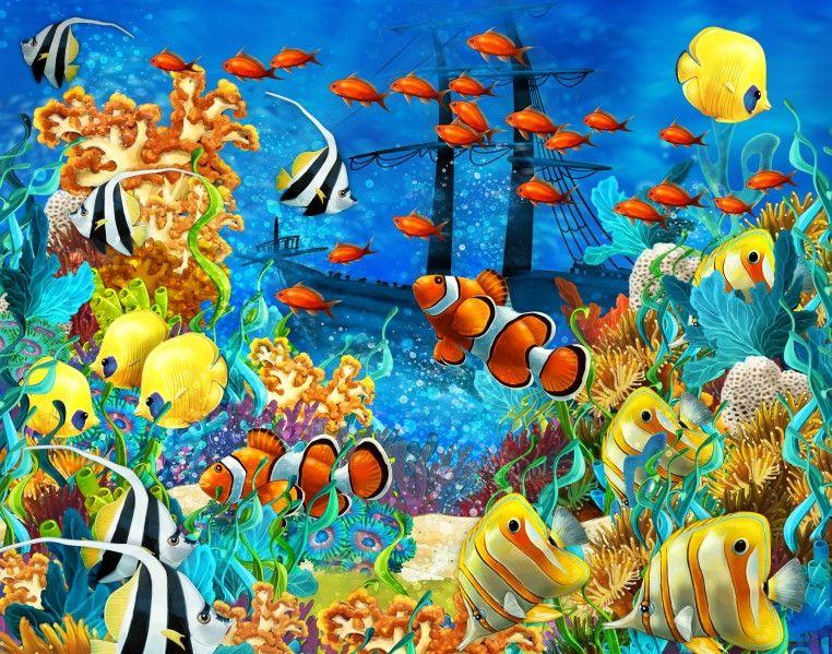 Mural de Parede Mundo Marinho Fundo do Mar Oceano Peixes Navio 663E1F