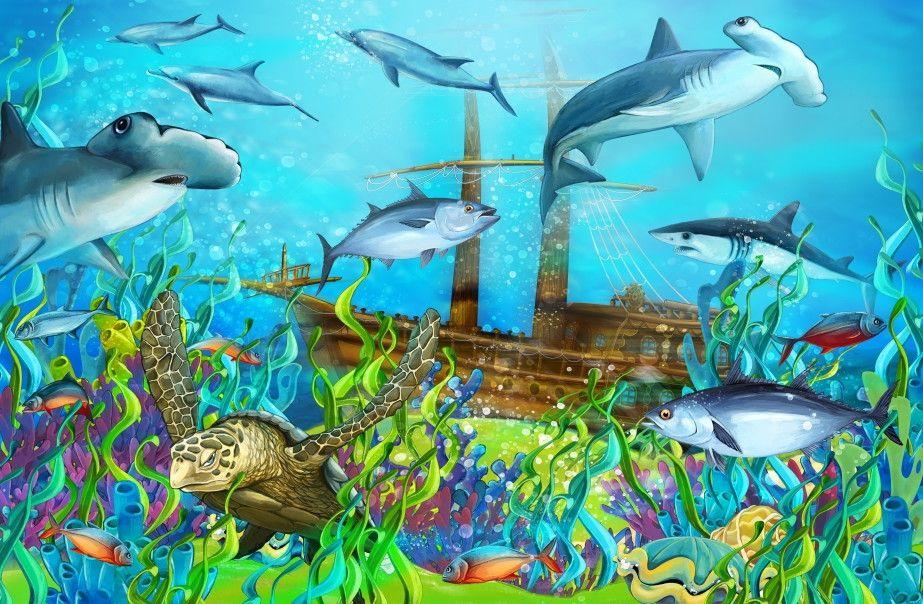 Mural de Parede Mundo Marinho Fundo do Mar Oceano Navio 663DEA