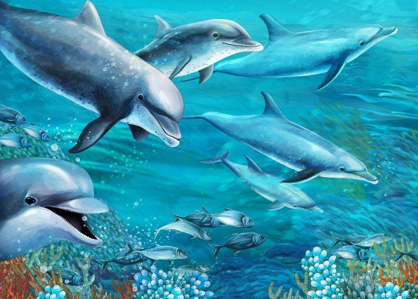 Mural de Parede Mundo Marinho Fundo do Mar Oceano Golfinhos 663CFA