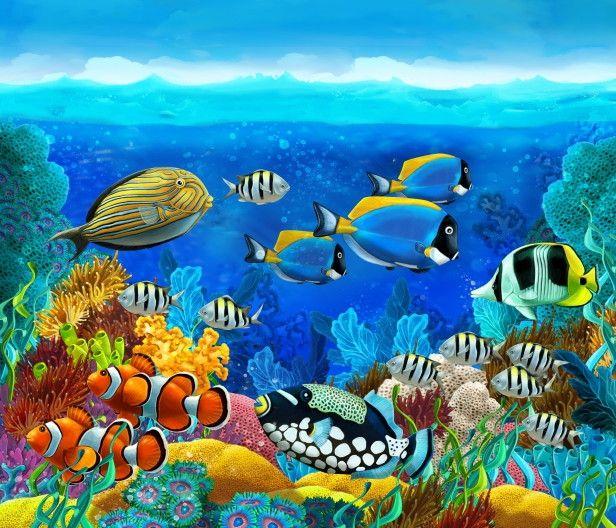 Mural de Parede Mundo Marinho Fundo do Mar Oceano Peixes 663CE0