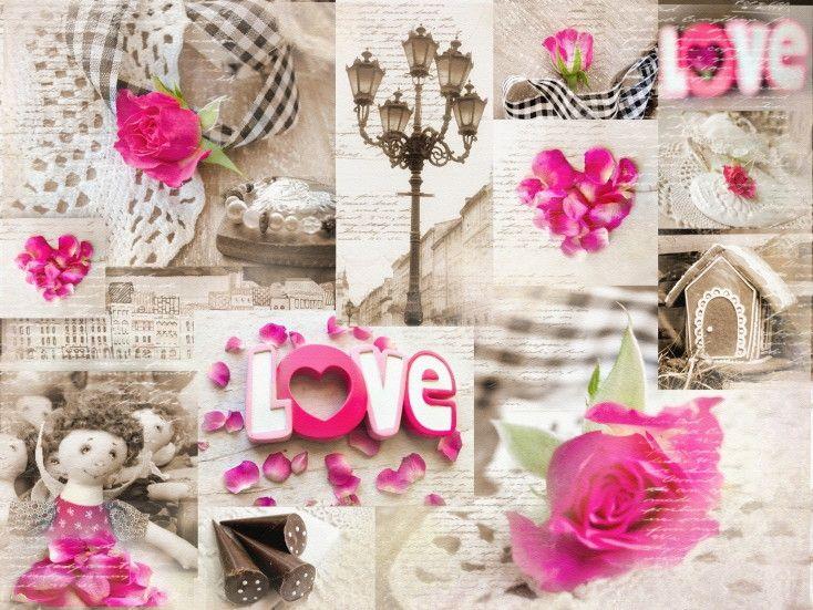 Mural de Parede Colagem Amor Love 8531A3
