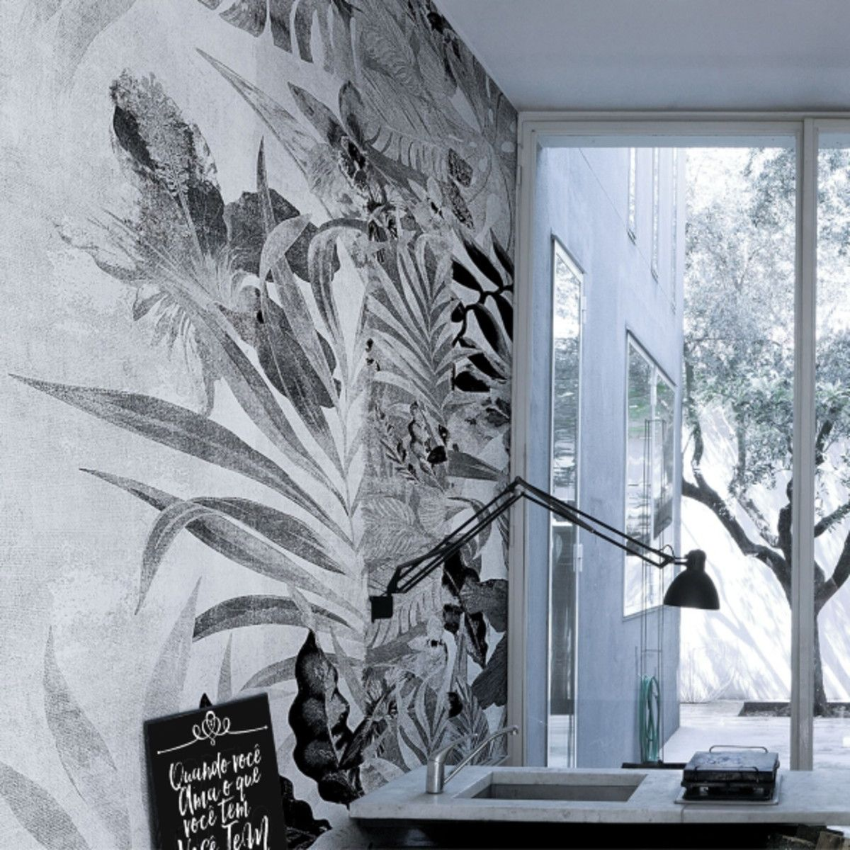 Mural Floral Natureza Folhas F9BFB9