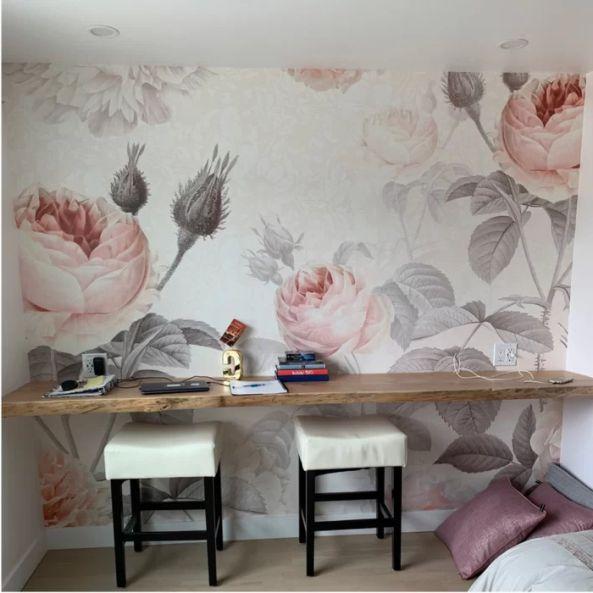 Mural Floral Rosa Musgosa EF5F31