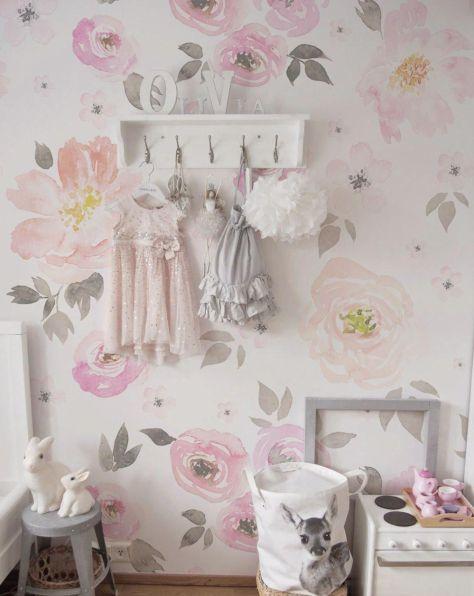 Mural Flores Floral Grande Aquarela Pastel 90D93A