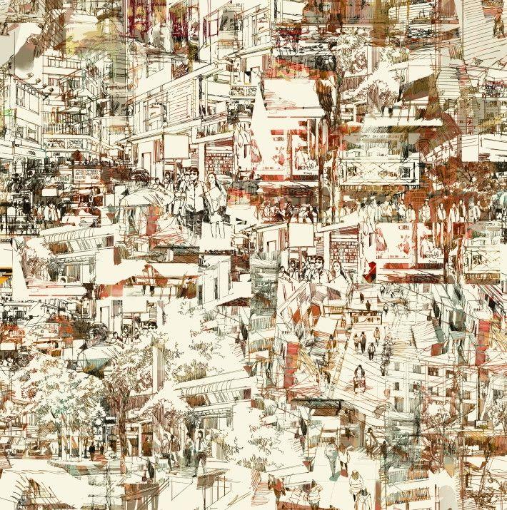 Papel de Parede Abstrato Cidades 6856BE