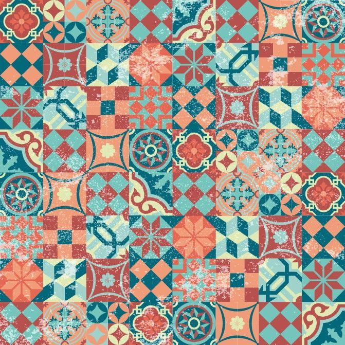 Papel de Parede Azulejos 65CE9F