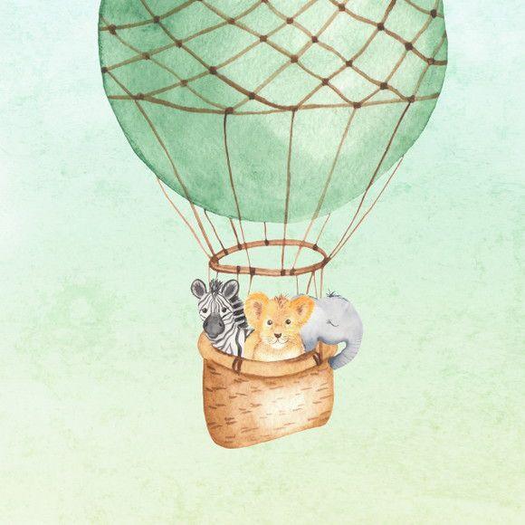Papel de Parede Animais Safari e Balões 11A03E2