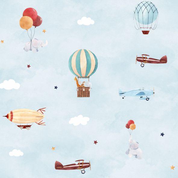 Papel de Parede Balões, Aviões e Nuvens ECBED8