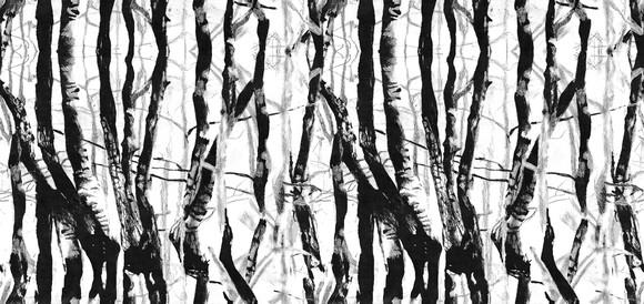 Papel de Parede Bambu Preto e Branco 15C54C9