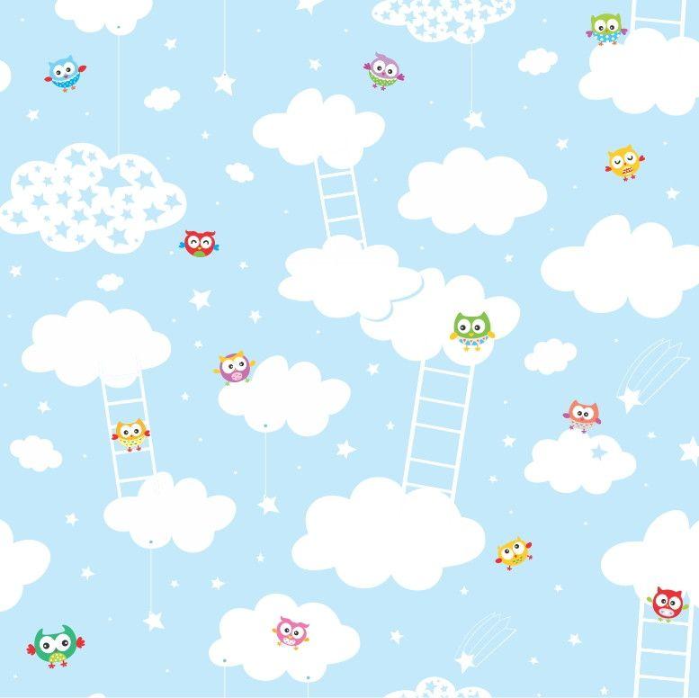 Papel de Parede Nuvens e Corujas 51671A
