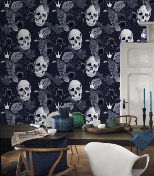 Papel de Parede Corvo e Caveiras Azul Escuro 1053759