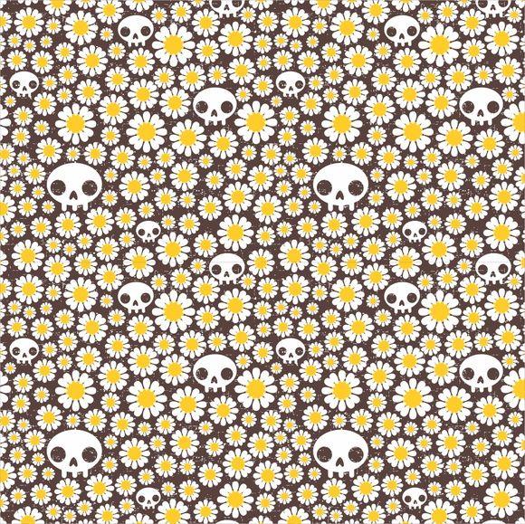 Papel de Parede Flores Florais Margaridas e Caveiras 42DF65