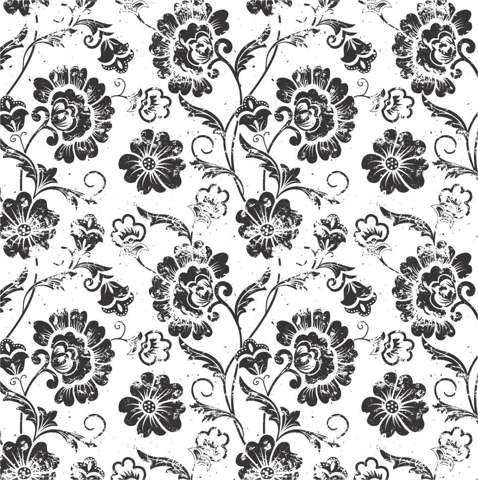 Papel de Parede Flores Florais Preto e Branco 4232EE