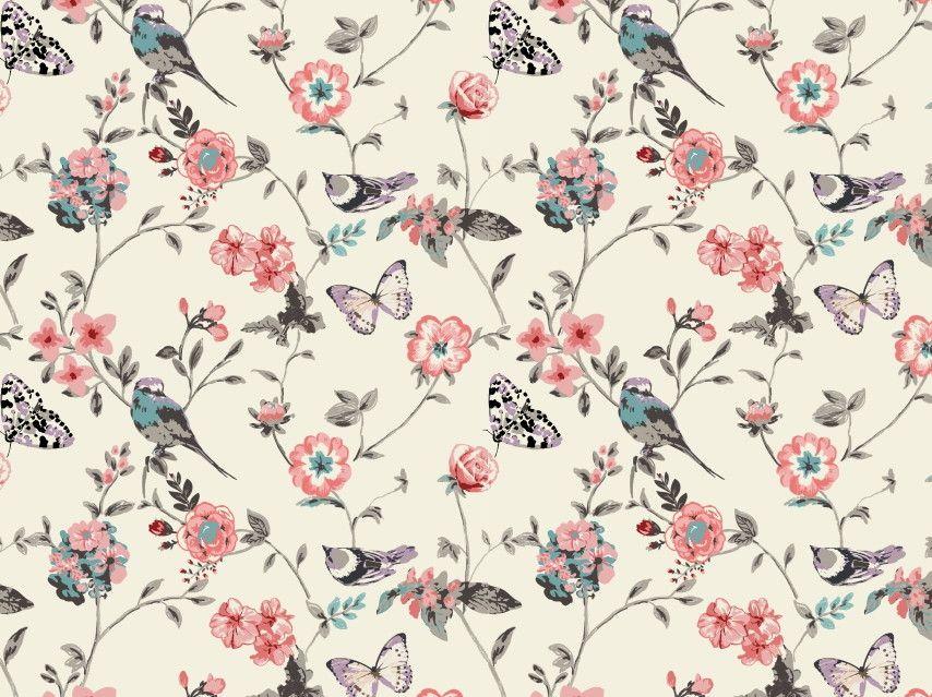 Papel de Parede Flores Florais Pássaros e Borboletas 40C9F2