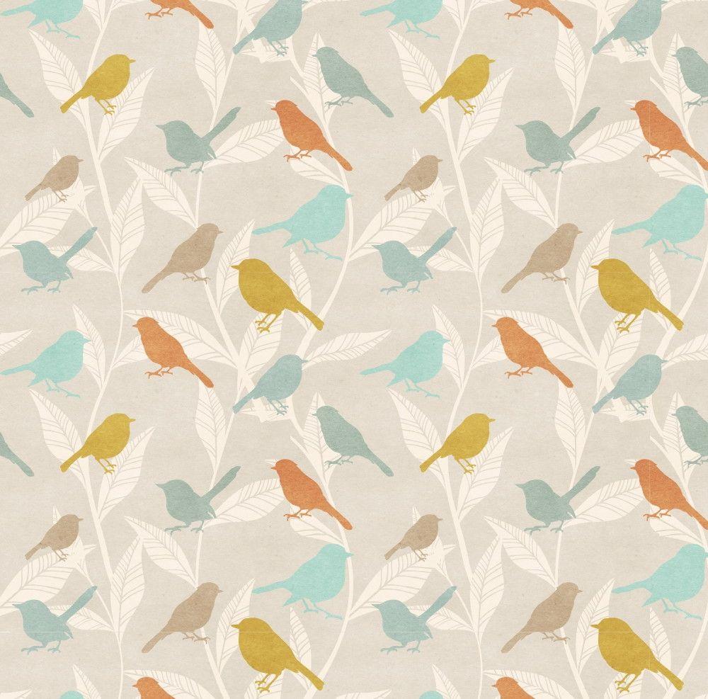 Papel de Parede Flores Florais com Pássaros 40922C