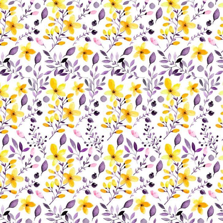Papel de Parede Folhas e Flores Aquarela Amarelo 6B9C80