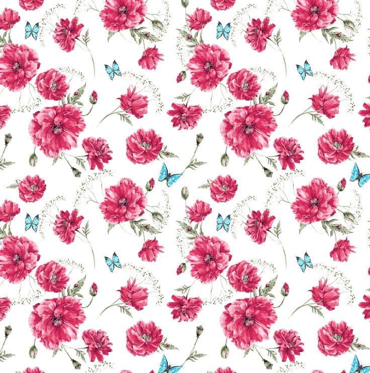 Papel de Parede Flores Floral com Borboletas 6B7A38