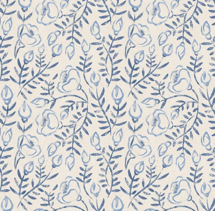 Papel de Parede Flores Floral Azul e Bege 6B355F