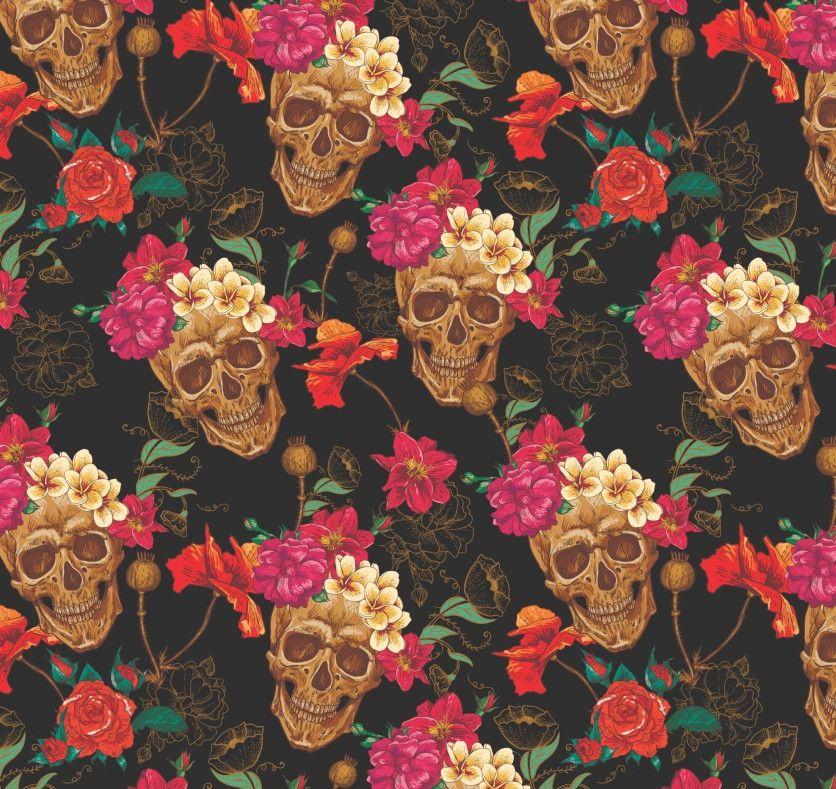 Papel de Parede Flores Florais Caveiras 4A9AE2