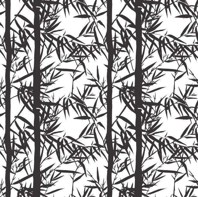 Papel de Parede Flores Florais Bambus Preto e Branco 685762
